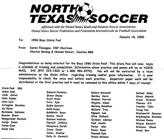 ODP Record: North Texas Soccer 1986 Boys State Pool For 2000   Sam Acker,  Adriel Adibi,  Soccer Player Resume