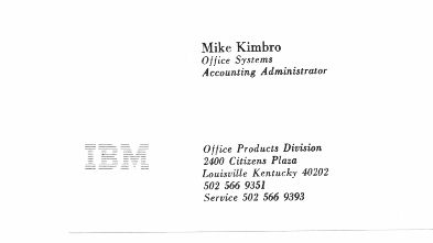 The resume of michael d kimbro of louisville kentucky ibm business card of mike kimbro of louisville ky while a member of office 4sf colourmoves