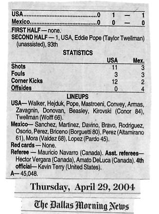 Image Credit:  The Dallas Morning News, April 29, 2004 edition, with the stats from the USA v. Mexico international friendly match.
