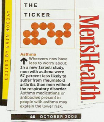 Image Credit: A piece documenting a possible inverse relationship between asthma and arthritis, which was copied from Men's Health Magazine, page 46 of the October 2006 issue, edited by Erin Hobday.