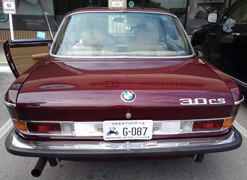 A maroon BMW 3.0CS coupe in Louisville, KY.