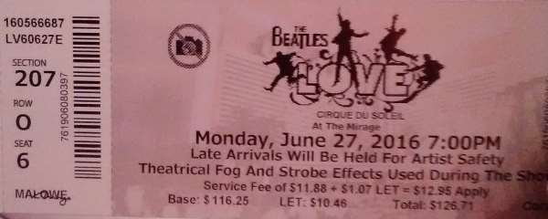 "Pic of a ticket for the Cirque Du Soleil show ""The Beatles LOVE"" seen at The Mirage Resort Casino on Las Vegas Blvd."