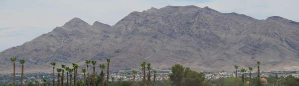 A photo of Frenchman's Mountain, a prime feature of the Las Vegas skyline, as seem from Boulder Highway in Clark County, NV.