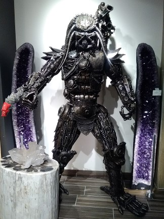 Pic of The Predator done in automobile and motorcycle parts seen at the Kalifano Galleries in the Shops at The Venetian Resort Casino.
