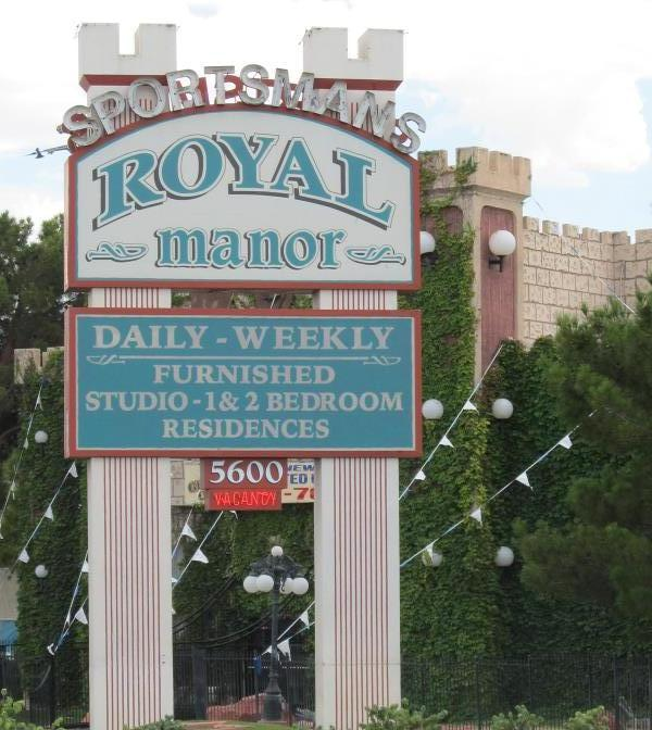 Pic of the sign for Sportsman's Royal Manor apartments in Clark County, NV at 5600 Boulder Highway at Tropicana, which looks like a castle.
