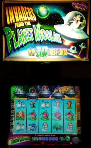 Pic of the slot machine Invaders from the Planet Moolah was taken at the Boulder Station Casino Resort in Las Vegas.