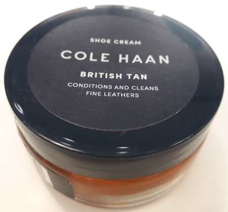 Cole Haan shoe polish cream for shoes in british tan shades of leather.