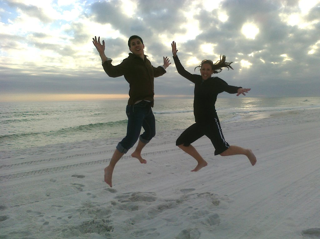 Britt and Marshall in mid air on Pensacola Beach 2011.