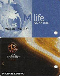 Pic of my MGM M-life Sapphire players card and my Caesars Resorts Total Rewards players card.  I'm a member of both of these casino bonus rewards programs.