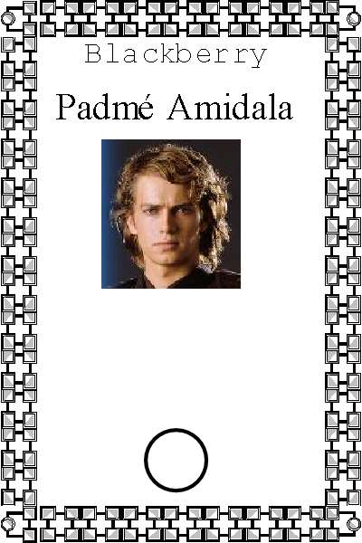 From the Star Wars world, a photo of the cell phone of jedi master Anakin Skywalker, who was sharing the cell phone plan of Padme Amidala, before becoming Darth Vadar.