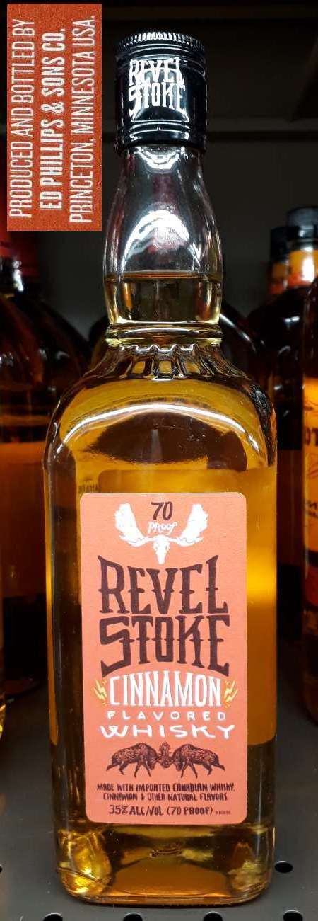 A bottle of Revel Stoke Cinnamon Whiskey by Ed Phillips & Sons Company of Princeton, Minnesota.
