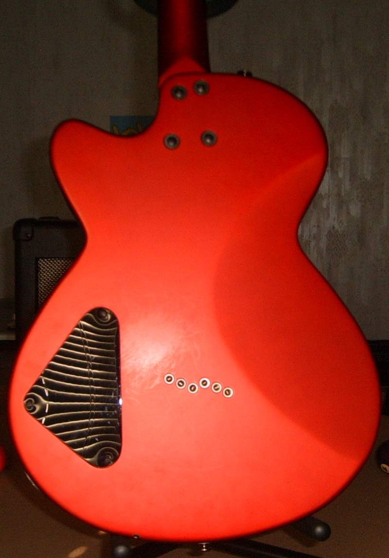 The back of the Daisy Rock guitar, model Rock Candy Custom Aztec Goddess