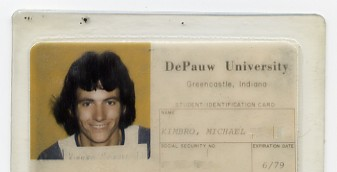 The DePauw University student id card of Chrome Dome Mike Kimbro, a resident of Bishop Roberts Hall in Greencastle, IN during my freshman year.