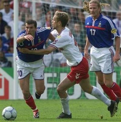 Photo Credit:  FIFA World Cup 2002 web site, photo of Danish player grabbing France's Zidane.