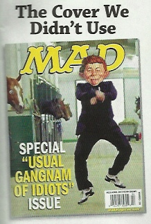 Mad Magazine cover featuring Alfred E. Newman going the Gangnam Style dance my famous my the Korean artist Psy.