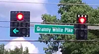 Street sign for Granny White Pike road in Brentwood, Tennessee.