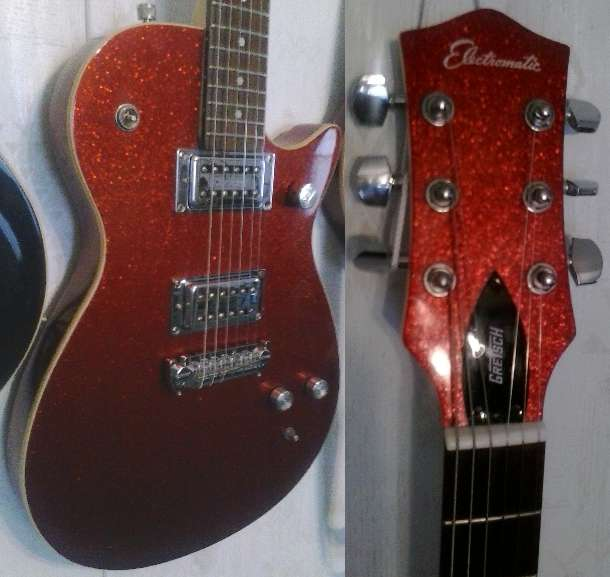 "A pic of the sparkle red Gretsch Electromatic G1619 guitar played by Tomy Lee Dudley in the song ""Lake Sakakawea"", bought by the author from a Cash America Pawn Shop in Fort Worth, Texas."