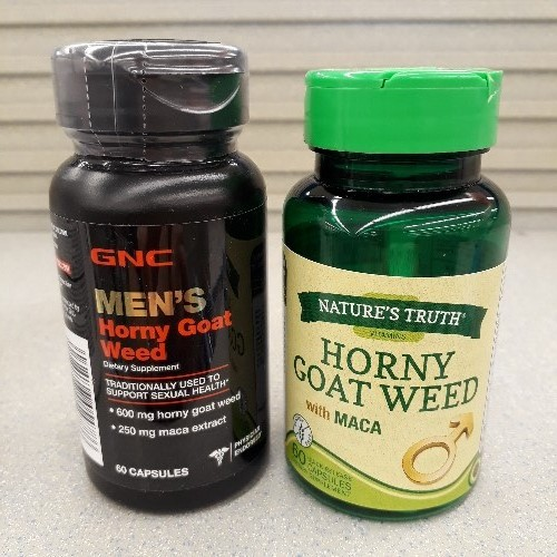 Here's a couple bottles of Horny Goat Seed tablets.