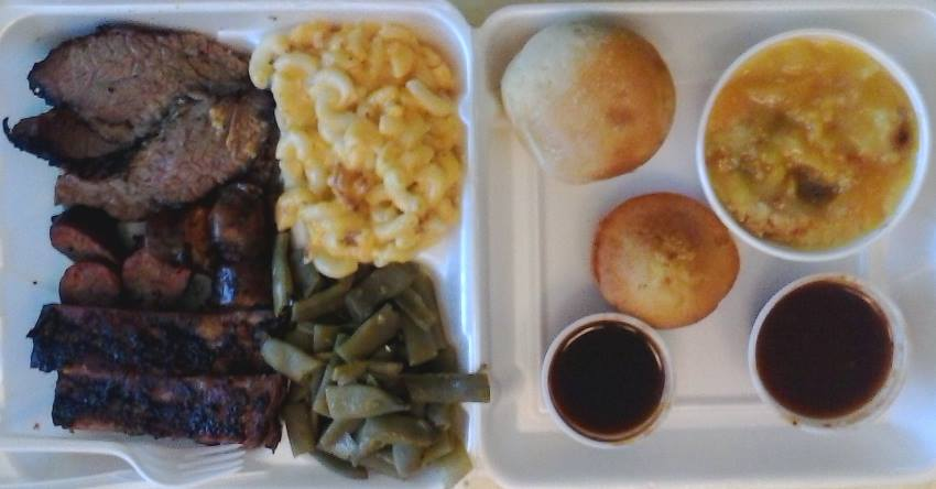Here's the meal that the manager at Hitchins Barbecue prepared for me on that beautiful day in McKinney, Texas.