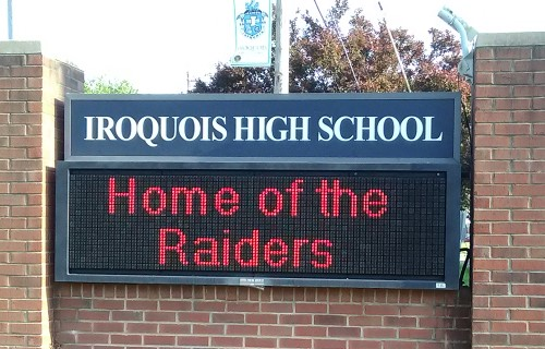 Here's a photo of the sign which is on Taylor Blvd, in front of Iroquois High School of Louisville, Kentucky.