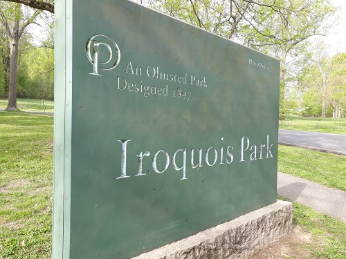 Pic of the sign at the North entrance of Iroquois Park in Louisville, Kentucky, which is an Olmsted Park which was designed in 1897.