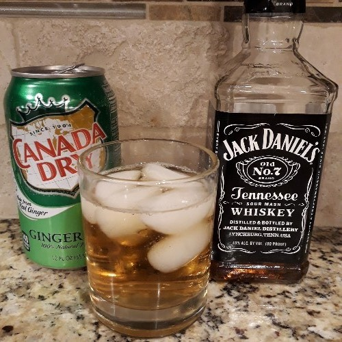 Jack Daniels Tennessee Whiskey tastes good with ginger ale.