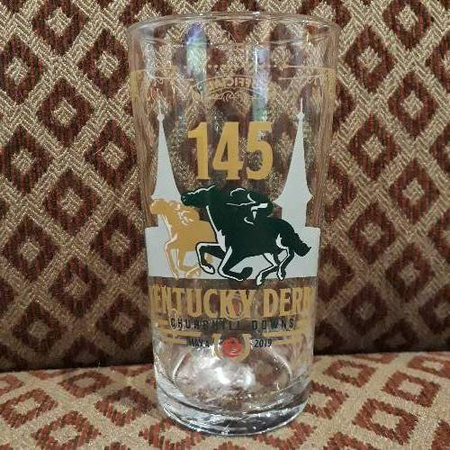 The official mint julip glass of Kentucky Derby number 145 held in May of 2019 in Louisville, Kentucky.