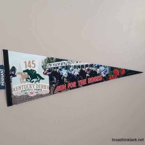 A pennant flag for the Kentucky Derby 145 held at Churchill Downs in the South End of Louisville, Kentucky.