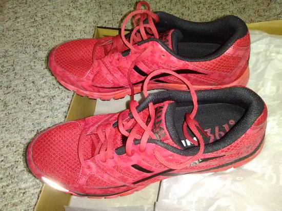Pic of my pair of 361 brand Zoni Camo running shoes in Chili Pepper Red and Black, which I bought at Dan's City Pawn Shop in Louisville, Kentucky.