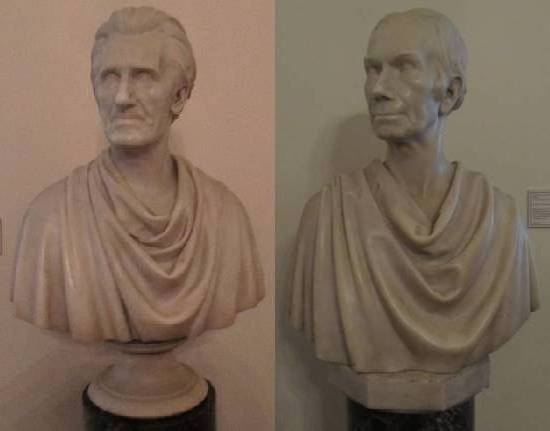 Busts of President Andrew Jackson and politician Henry Clay on display in the Old Capitol Building in Frankfurt, Kentucky, as crafted by Joel Tanner Hart.