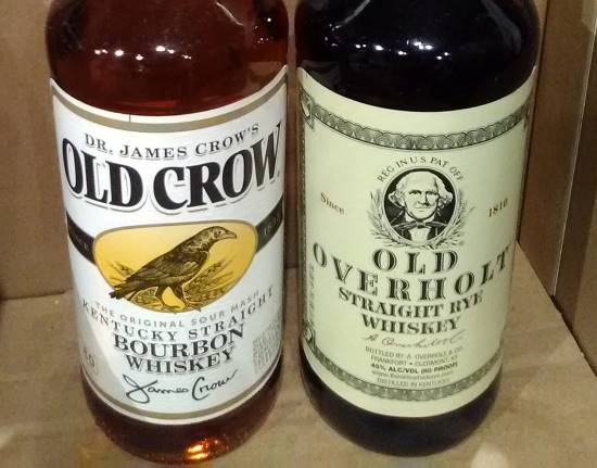 Pic of Old Crow Bourbon Whiskey and Old Overholt Rye Whiskey.