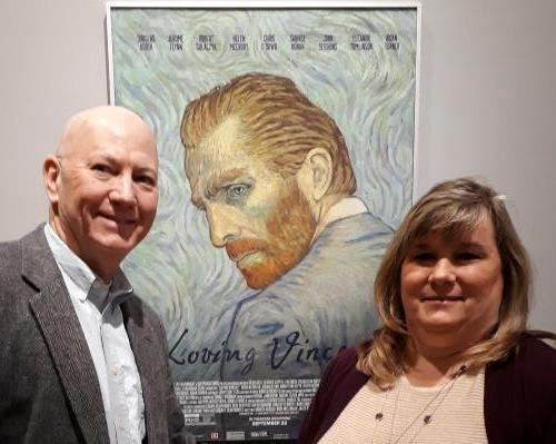 A photo of Paula and myself in front of the poster for the animated movie Loving Vincent which was playing at the Speed Art Museum in Louisville, Kentucky.