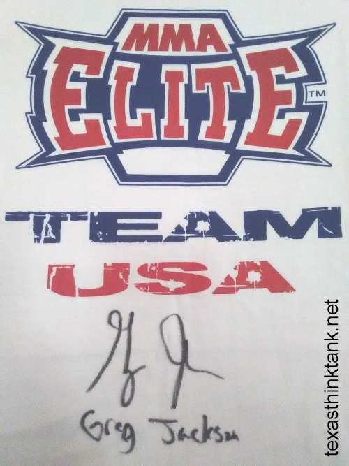 A pic of my MMA Elite Team USA t-shirt which was autographed by MMA fighting coach Greg Jackson of Albuquerque, NM.