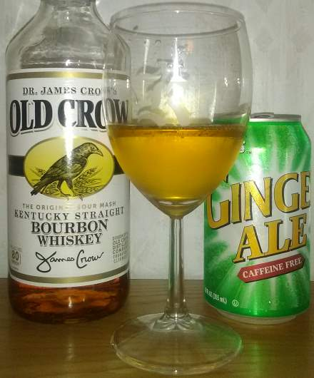 A favorite cocktail of Old Crow Kentucky Straight Bourbon Whiskey and Walmart's Great Value Ginger Ale.
