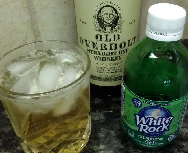 Photo of a bourbon cocktail made with Old Overhold Straight Rye Whiskey along with White Rock Ginger Ale.