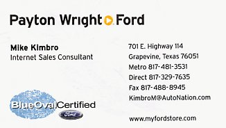 Business card of Mike Kimbro while with Payton Wright Ford, an AutoNation dealership, which later became Bankston Ford of Grapevine, and later simply Grapevine Ford.
