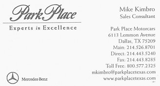 Business card of Mike Kimbro while at Park Place Mercedes Benz on Lemmon Ave in Dallas, TX.  This dealership was part of the Park Place Motorcars organization which included Lexus and Bentley automobiles.