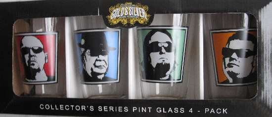 My set of drinking glasses featuring the images of the Pawn Stars of the Gold & Silver Pawn Shop, bought at Choctaw Casino in Durant, OK.