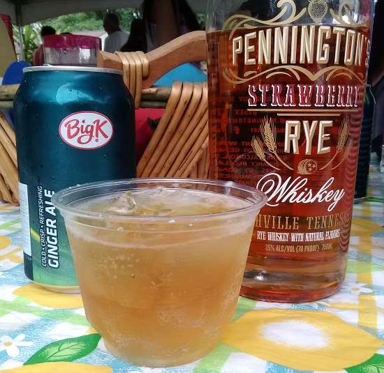 A delicious cocktail of Strawberry Rye Whiskey by Pennington's of Nashville, Tennessee, with some fine Big K Ginger Ale from Kroger, enjoyed at a July 4th Party in St. Matthews, KY.