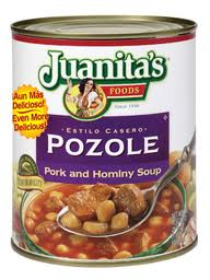 Pic of a can of Juanita's Polole, the Pork and Hominy Soup of Hispanic origin.  Originally made with human meat, pork was later substituted into the recipe.