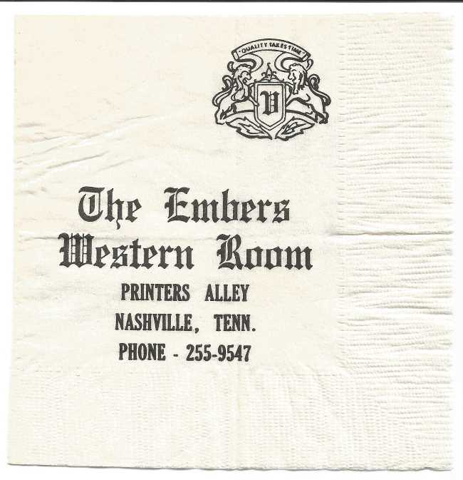 A napkin from the Western Room at The Embers building on Printers Alley in Nashville, Tennessee.