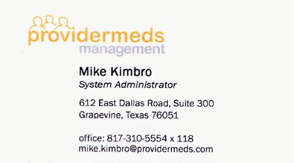 My business card from Providermeds Management of Grapevine, TX.