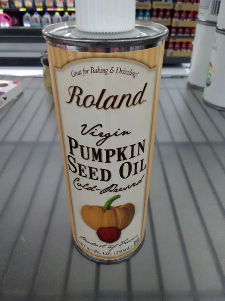 Here's a container of pumpkin seed oil, pic taken at the Walmart in Grapevine, TX.