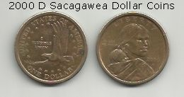 Image Credit:  Sacagawea Dollar Coins of the 2000 D series, depicting Sakakawea and her son Jean Baptiste Charbonneau on one side, and an American Bald Eagle in flight on the other side.
