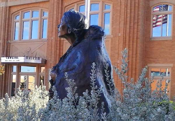 Photo of a statue of Sacagawea of the Shoshone Native American Indian Tribe on display at the National Cowgirl Museum in Fort Worth, Texas.