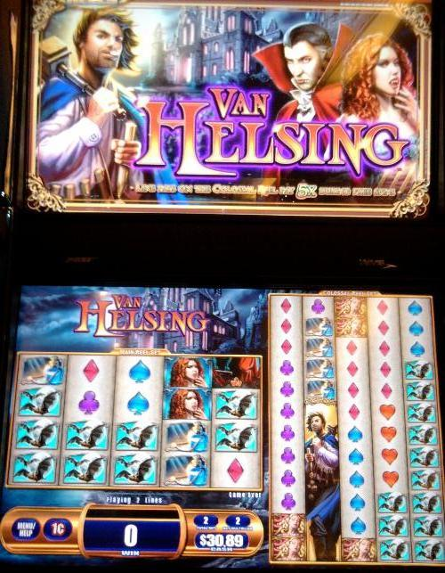 The Van Helsing slot machine photo taken at the Grand Casino in Biloxi, Mississippi.  It's all about the battle between Count Dracula and Herr Van Helsing.