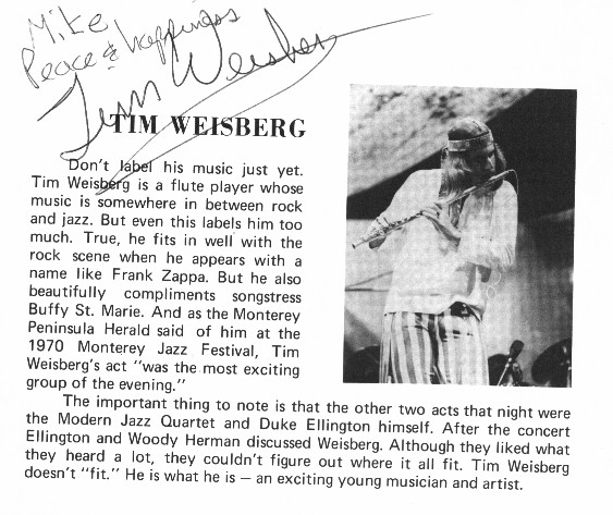 Program page autographed by flutist Tim Weisberg secured at a concert in Phoenix, Arizona around 1971.
