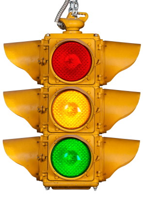 Pic of a standard traffic light in the red, yellow, green configuration.