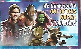 From the Guardians of the Galaxy Vol. 2 Valentine's Day Card collection by Marvel Comics and the Paper Magic Group of Moosic, PA.