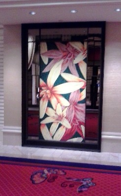 Take note of the butterflies on the floor of the hallways of The Wynn Resort on the Las Vegas Strip in Nevada